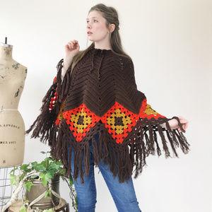 Vintage Home Made Crochet Fringe Poncho